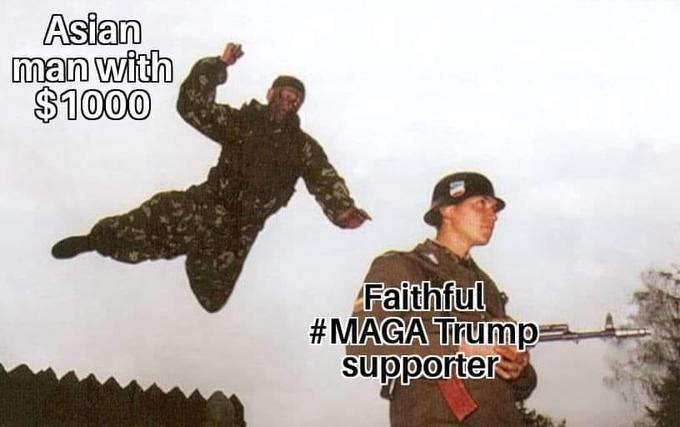 Soldier - Asian man with $1000 Faithful #MAGA Trump- supporter