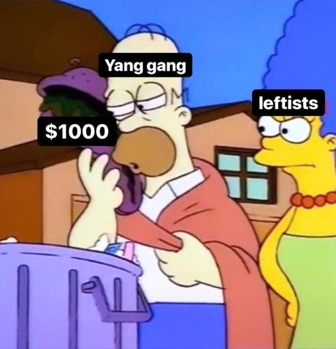 Cartoon - Yang gang leftists $1000