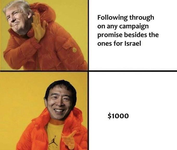 Text - Following through on any campaign promise besides the ones for Israel $1000