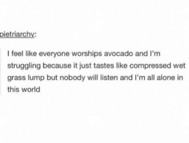 Text - pietriarchy: I feel like everyone worships avocado and l'm struggling because it just tastes like compressed wet grass lump but nobody will listen and I'm all alone in this world