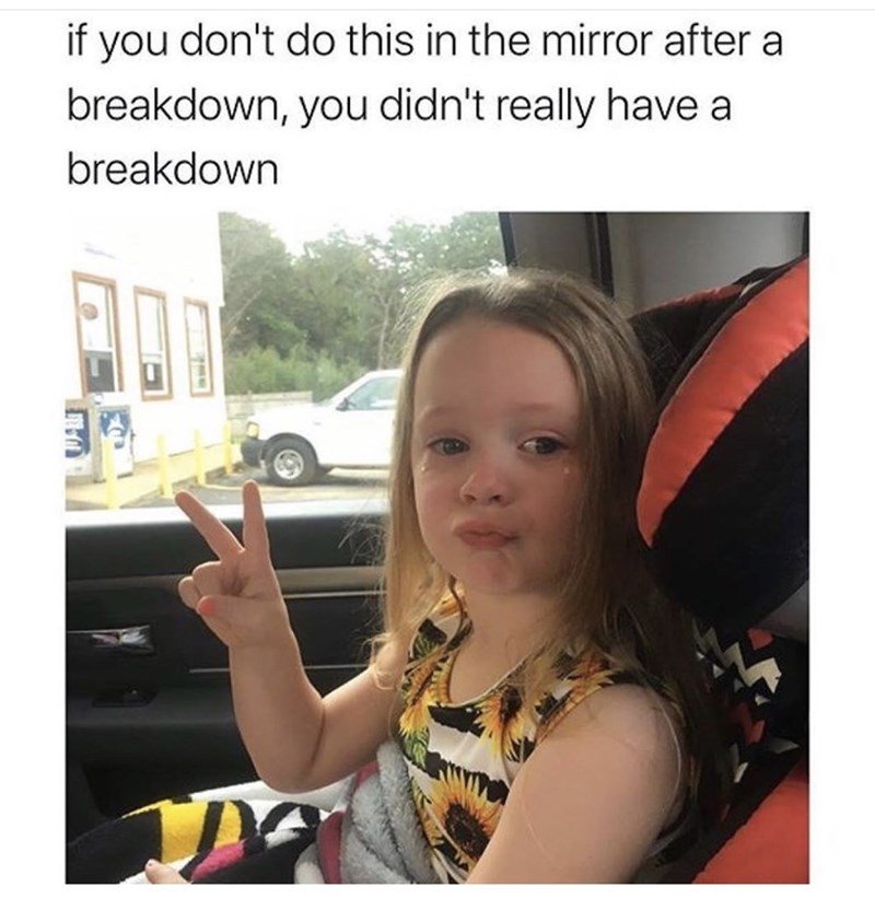 Face - if you don't do this in the mirror after a breakdown, you didn't really have a breakdown 32