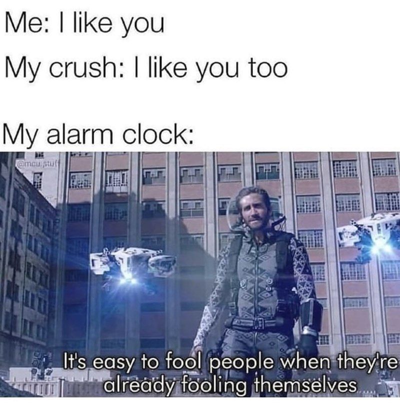 Text - Me: I like you My crush: I like you too My alarm clock: @mcu stuf It's easy to fool people when they're already fooling themselves