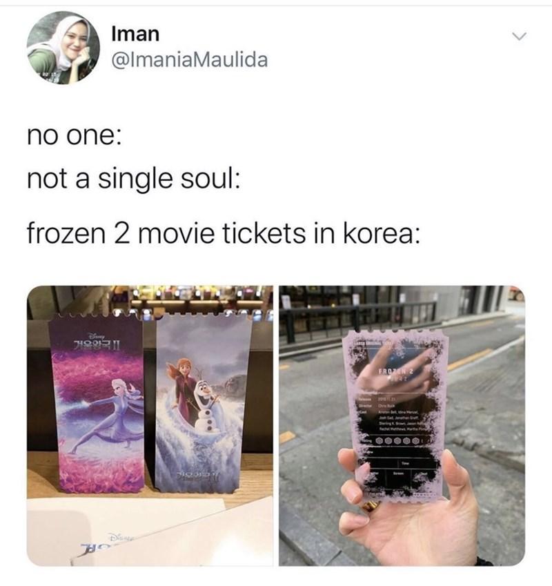 Product - Iman @lmaniaMaulida no one: not a single soul: frozen 2 movie tickets in korea: Diney 겨울앙국 IⅡ FROZEN 2 20121 Dr Buck Kten De dea Menel Joh Gat Jnatan Graff SterlingKn anon Rachel Mathe Hartha P DISNER