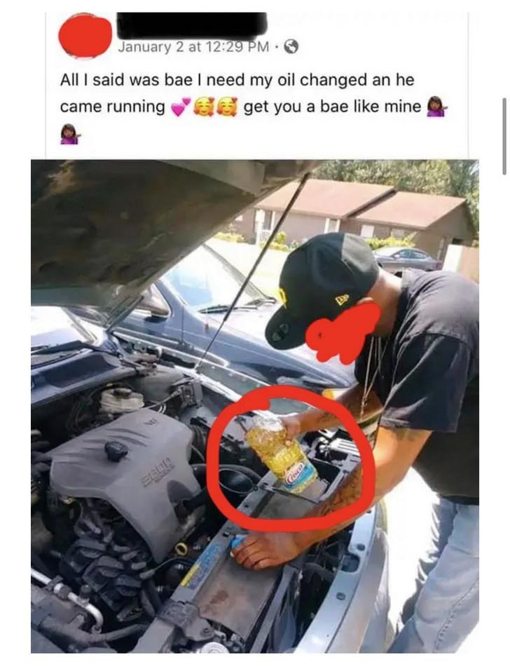 Text - Auto mechanic - January 2 at 12:29 PM. All I said was bae I need my oil changed an he a get you a bae like mine came running