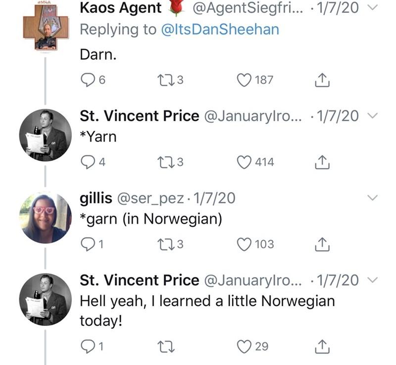 Text - Kaos Agent @AgentSiegfri.. · 1/7/20 ▼ Replying to @ltsDanSheehan Darn. 06 273 187 St. Vincent Price @Januarylro... · 1/7/20 v *Yarn 273 414 gillis @ser_pez · 1/7/20 *garn (in Norwegian) 273 ♡ 103 St. Vincent Price @Januarylro... · 1/7/20 v Hell yeah, I learned a little Norwegian today! 29