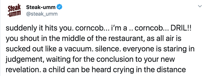 Text - Steak Steak-umm -umm @steak_umm suddenly it hits you.corncob... i'm a .. corncob... DRIL!! you shout in the middle of the restaurant, as all air is sucked out like a vacuum. silence. everyone is staring in judgement, waiting for the conclusion to your new revelation. a child can be heard crying in the distance
