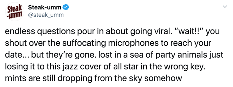 """Text - Steak Steak-umm umm @steak_umm endless questions pour in about going viral. """"wait!!"""" you shout over the suffocating microphones to reach your date... but they're gone. lost in a sea of party animals just losing it to this jazz cover of all star in the wrong key. mints are still dropping from the sky somehow"""