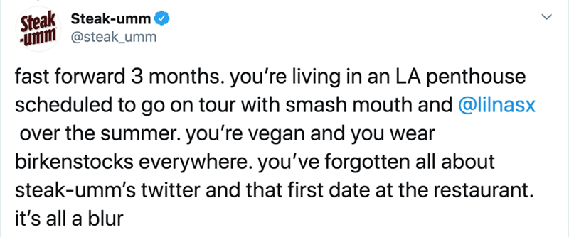Text - Steak Steak-umm -umm @steak_umm fast forward 3 months. you're living in an LA penthouse scheduled to go on tour with smash mouth and @lilnasx over the summer. you're vegan and you wear birkenstocks everywhere. you've forgotten all about steak-umm's twitter and that first date at the restaurant. it's all a blur