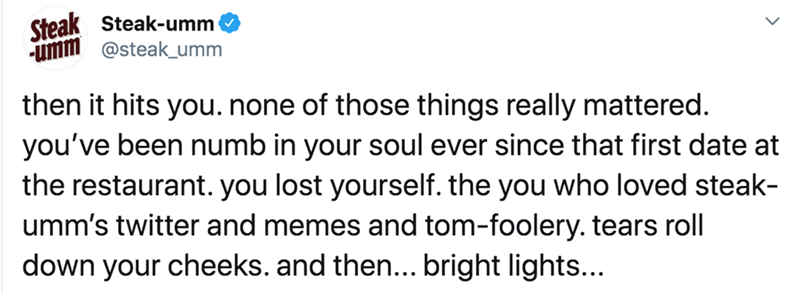 Text - Steak Steak-umm umm @steak_umm then it hits you. none of those things really mattered. you've been numb in your soul ever since that first date at the restaurant. you lost yourself. the you who loved steak- umm's twitter and memes and tom-foolery. tears roll down your cheeks. and then... bright lights...