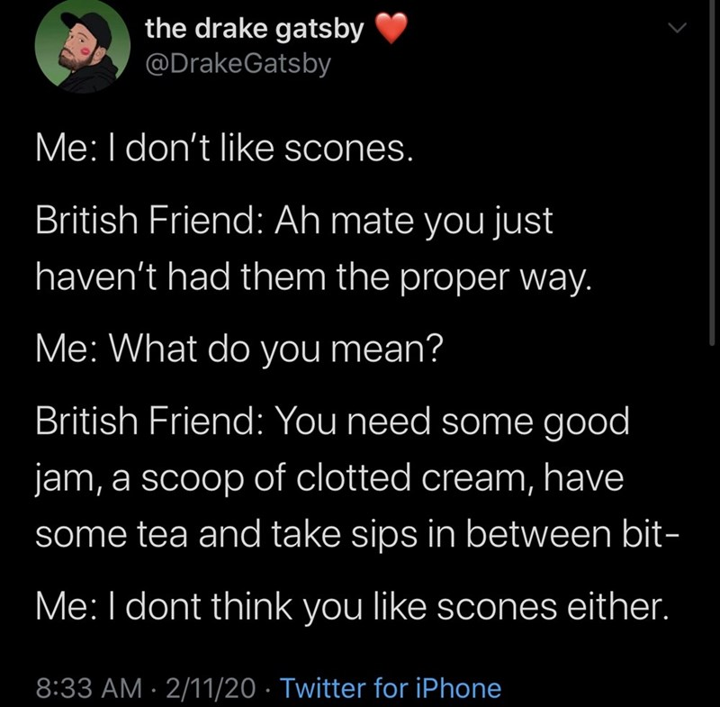 Text - the drake gatsby @DrakeGatsby Me:I don't like scones. British Friend: Ah mate you just haven't had them the proper way. Me: What do you mean? British Friend: You need some good jam, a scoop of clotted cream, have some tea and take sips in between bit- Me:I dont think you like scones either. 8:33 AM · 2/11/20 · Twitter for iPhone