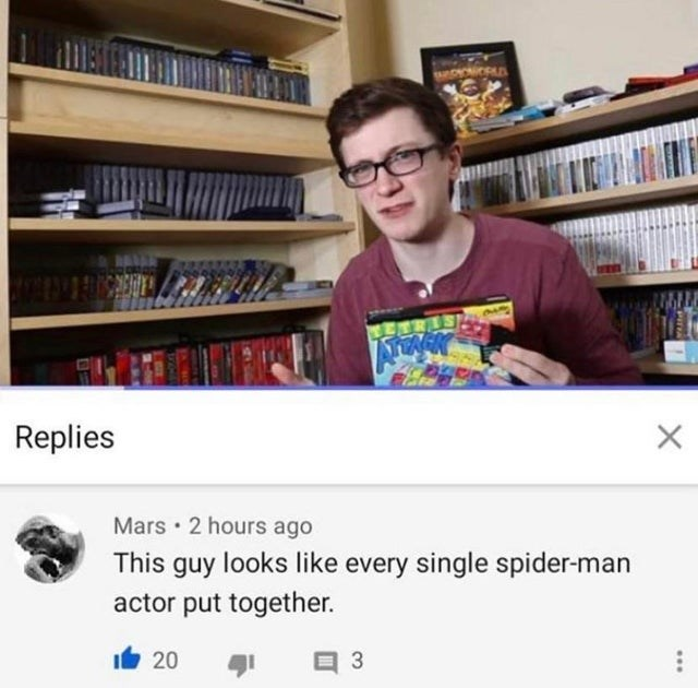 funny meme about youtuber who looks like every spider-man actor put together.