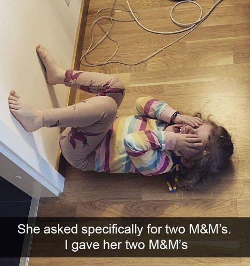 Facial expression - She asked specifically for two M&M's. I gave her two M&M's