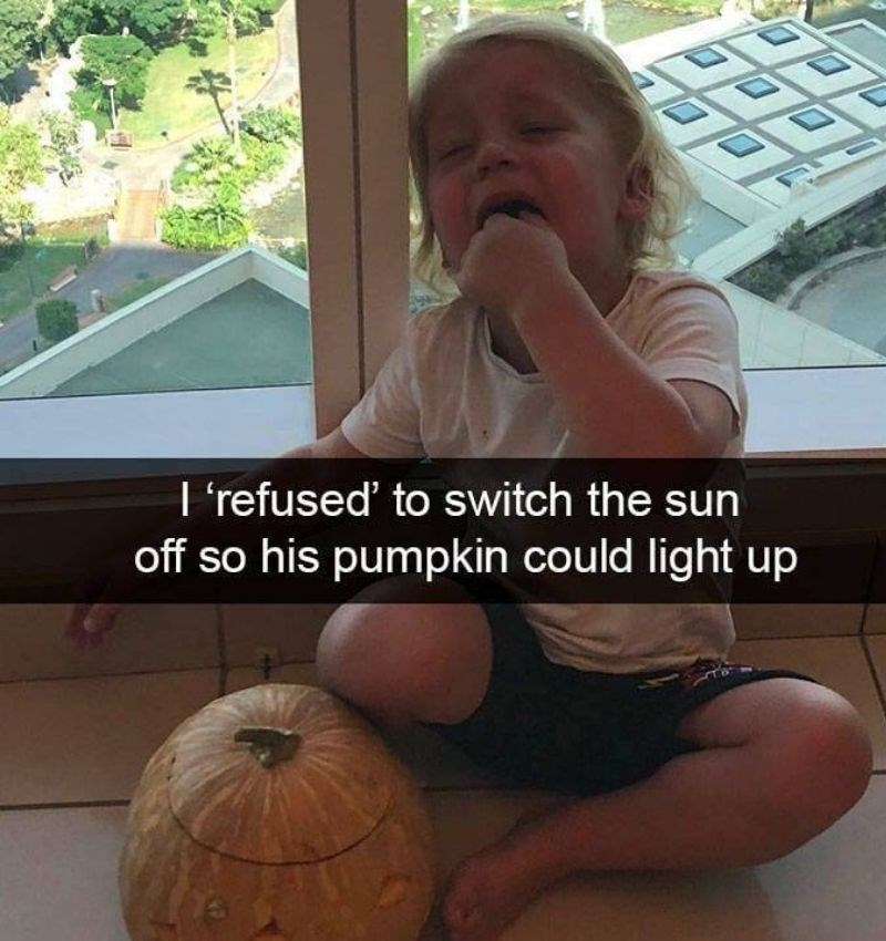 Pumpkin - कि कदी I 'refused' to switch the sun off so his pumpkin could light up