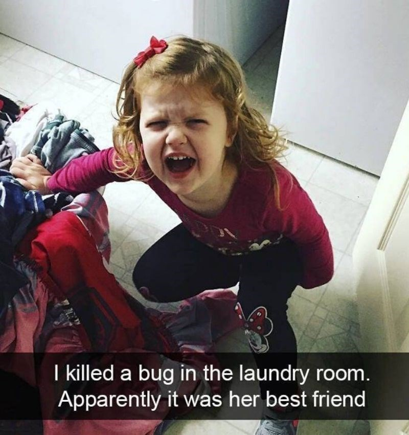 Facial expression - I killed a bug in the laundry room. Apparently it was her best friend