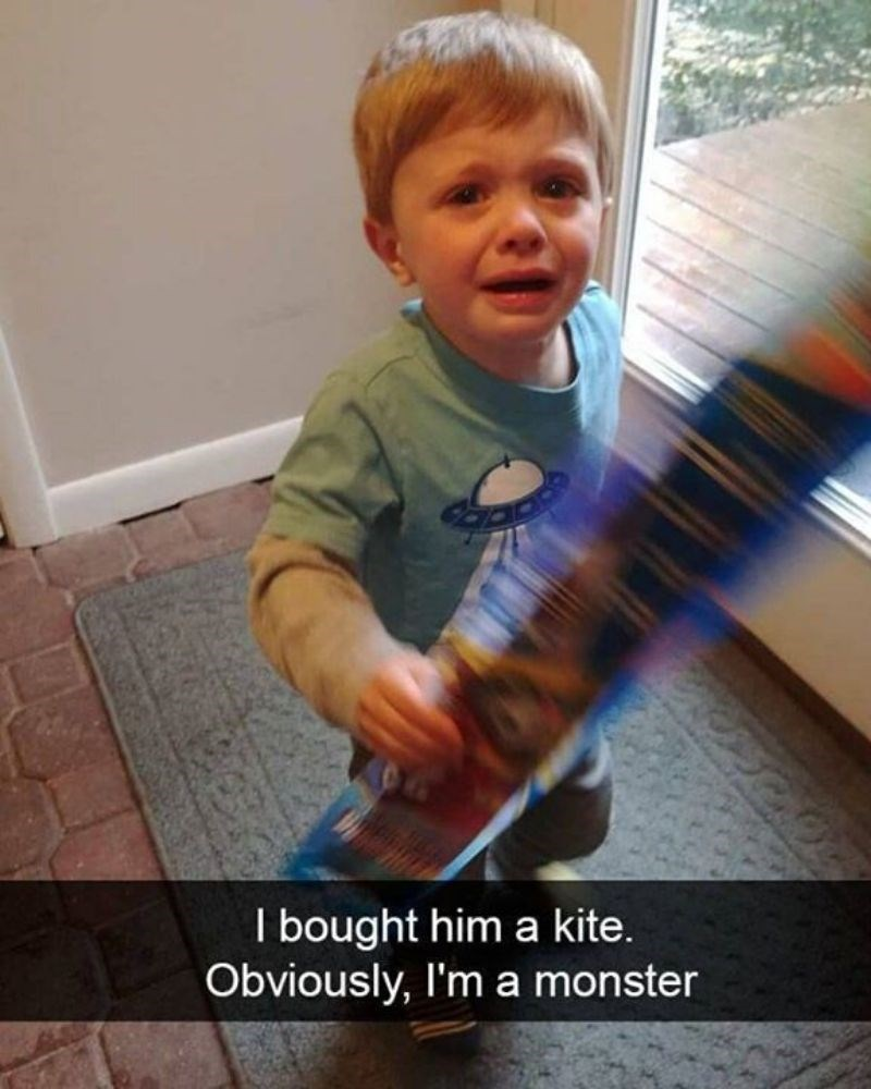 Child - I bought him a kite. Obviously, I'm a monster