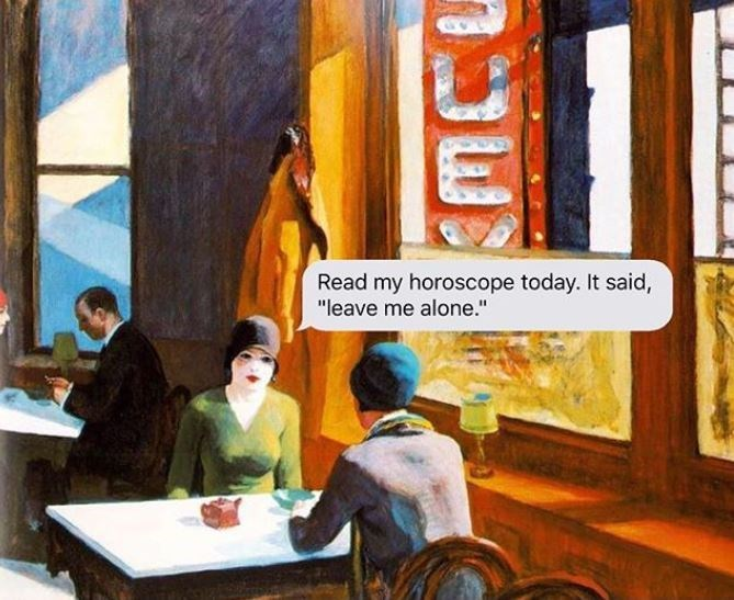 """Painting - Read my horoscope today. It said, """"leave me alone."""""""