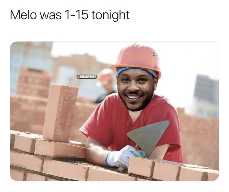 Product - Melo was 1-15 tonight @NBAMEMES