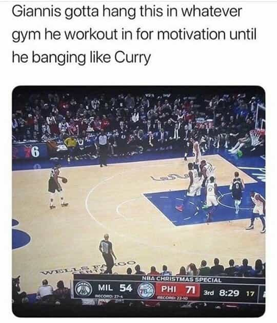 Sport venue - Giannis gotta hang this in whatever gym he workout in for motivation until he banging like Curry ELL NBA CHRISTMAS SPECIAL MIL 54 PHI 71 3rd 8:29 17 (76.4 RECORO 24 RECORD 22-10