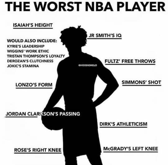 Text - THE WORST NBA PLAYER ISAIAH'S HEIGHT JR SMITH'S IQ WOULD ALSO INCLUDE: KYRIE'S LEADERSHIP WIGGINS' WORK ETHIC TRISTAN THOMPSON'S LOYALTY FULTZ' FREE THROWS DEROZAN'S CLUTCHNESS еноооемLо JOKIC'S STAMINA SIMMONS' SHOT LONZO'S FORM JORDAN CLARIKSON'S PASSING DIRK'S ATHLETICISM MCGRADY'S LEFT KNEE ROSE'S RIGHT KNEE