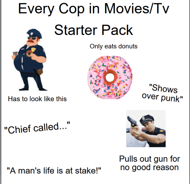 "Text - Every Cop in Movies/Tv Starter Pack Only eats donuts ""Shows over punk"" Has to look like this ""Chief called..."" Pulls out gun for no good reason ""A man's life is at stake!"""