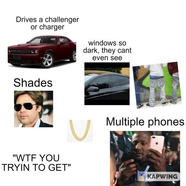 "Vehicle - Drives a challenger or charger windows so dark, they cant even see Shades Multiple phones ""WTF YOU TRYIN TO GET"" KAPWING"