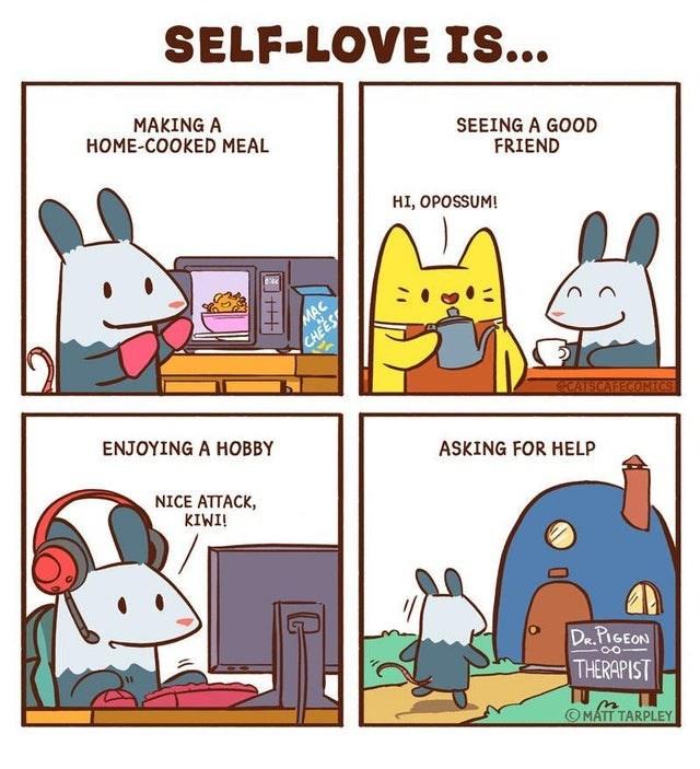 Cartoon - SELF-LOVE IS... MAKING A HOME-COOKED MEAL SEEING A GOOD FRIEND HI, OPOSSUM! MAC CHEES CATSCAFECOMECS ENJOYING A HOBBY ASKING FOR HELP NICE ATTACK, KIWI! Da.PIGEON THERAPIST © MÁTT TARPLEY