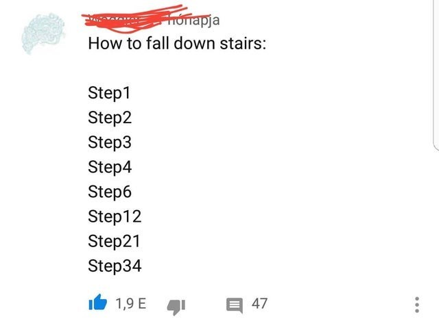 Text - FHonrapja How to fall down stairs: Step1 Step2 Step3 Step4 Step6 Step12 Step21 Step34 E 47 1,9 E