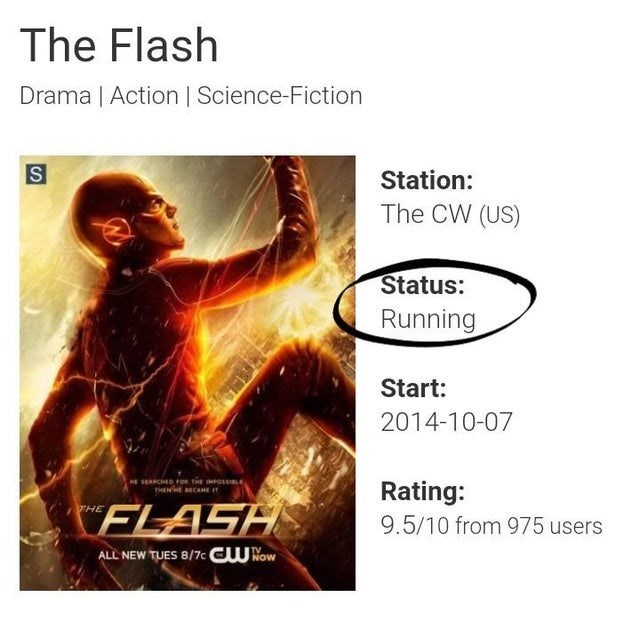 Text - The Flash Drama | Action | Science-Fiction Station: The CW (US) Status: Running Start: 2014-10-07 HE SEARCHED F THE IHPOSL THENE ECAHE IT Rating: 9.5/10 from 975 users FLASH ALL NEW TUES 8/7c CU Now