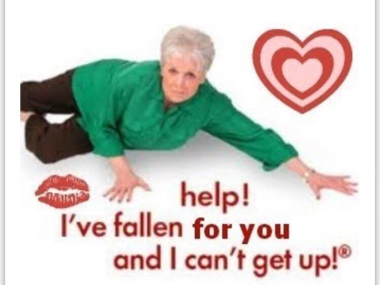 Photo caption - help! I've fallen for you and I can't get up!