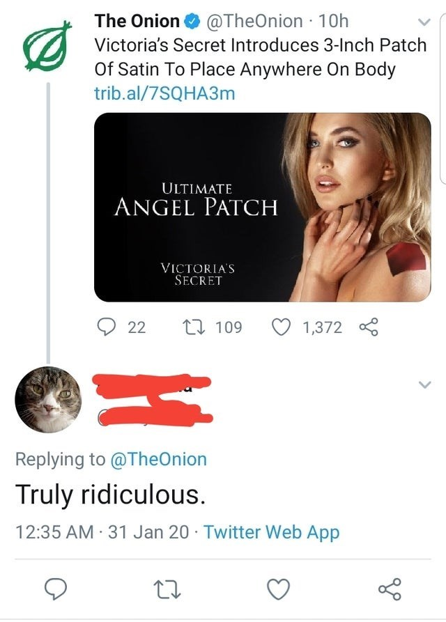 Text - The Onion O @TheOnion 10h Victoria's Secret Introduces 3-Inch Patch Of Satin To Place Anywhere On Body trib.al/7SQHA3M ULTIMATE ANGEL PATCH VICTORIA'S SECRET 17 109 22 1,372 Replying to @TheOnion Truly ridiculous. 12:35 AM 31 Jan 20 · Twitter Web App