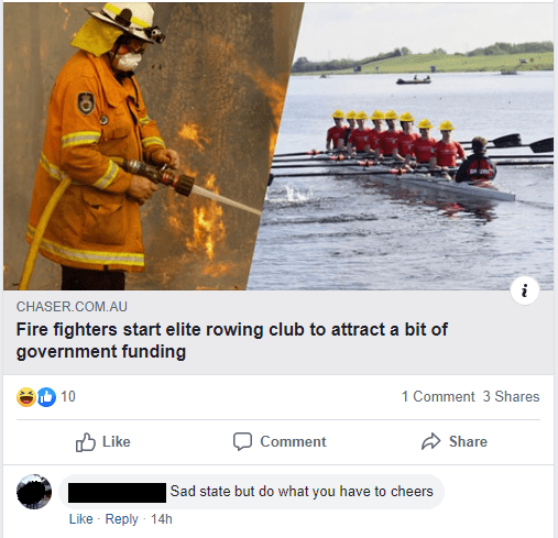 Text - Boating - CHASER.COM.AU Fire fighters start elite rowing club to attract a bit of government funding 10 1 Comment 3 Shares O Like Comment Share Sad state but do what you have to cheers Like - Reply · 14h