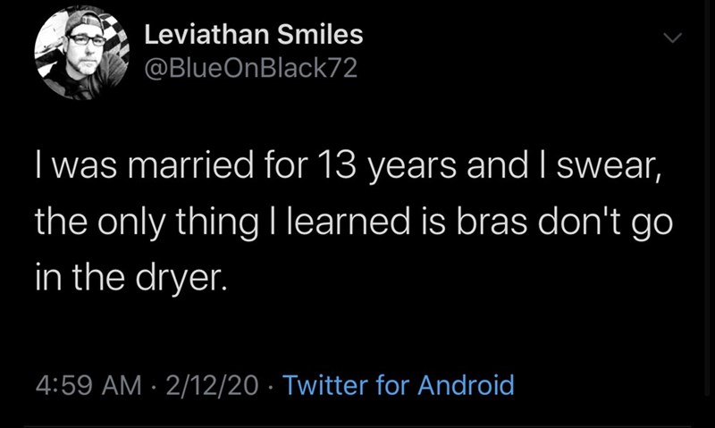 Text - Leviathan Smiles @BlueOnBlack72 I was married for 13 years and I swear, the only thing learned is bras don't go   in the dryer. 4:59 AM · 2/12/20 · Twitter for Android