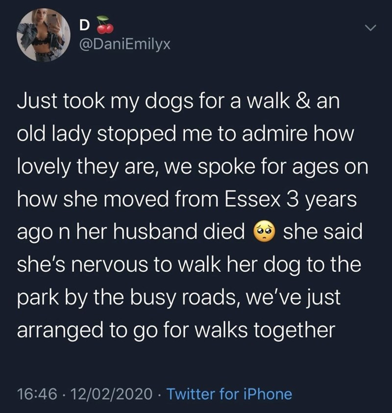 Text - @DaniEmilyx Just took my dogs for a walk & an old lady stopped me to admire how lovely they are, we spoke for ages on how she moved from Essex 3 years ago n her husband died O she said she's nervous to walk her dog to the park by the busy roads, we've just arranged to go for walks together 16:46 · 12/02/2020 · Twitter for iPhone