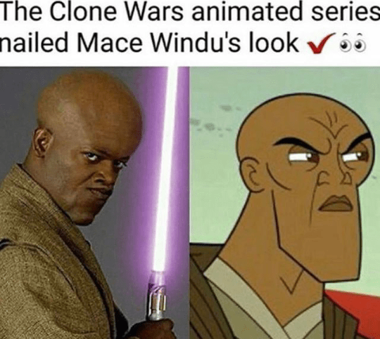 Forehead - The Clone Wars animated series nailed Mace Windu's look vô