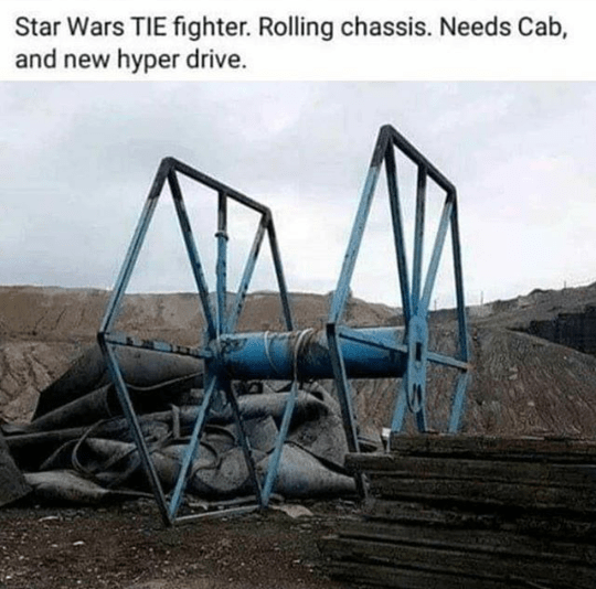 Photography - Star Wars TIE fighter. Rolling chassis. Needs Cab, and new hyper drive.
