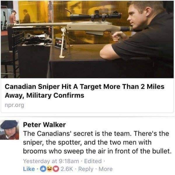 Text - Canadian Sniper Hit A Target More Than 2 Miles Away, Military Confirms npr.org Peter Walker The Canadians' secret is the team. There's the sniper, the spotter, and the two men with brooms who sweep the air in front of the bullet. Yesterday at 9:18am Edited· Like · 00 2.6K Reply More