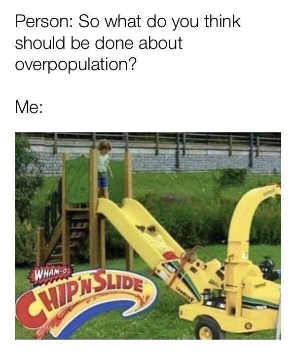Playground - Person: So what do you think should be done about overpopulation? Me: WHAM-0 CHIPNSLIDE