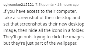 Text - uglycookie212121 7.5k points · 16 hours ago If you have access to their computer, take a screenshot of their desktop and set that screenshot as their new desktop image, then hide all the icons in a folder. They'll go nuts trying to click the images but they're just part of the wallpaper.