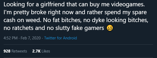 Text - Text - Looking for a girlfriend that can buy me videogames. I'm pretty broke right now and rather spend my spare cash on weed. No fat bitches, no dyke looking bitches, no ratchets and no slutty fake gamers O 4:52 PM - Feb 7, 2020 · Twitter for Android 928 Retweets 2.7K Likes