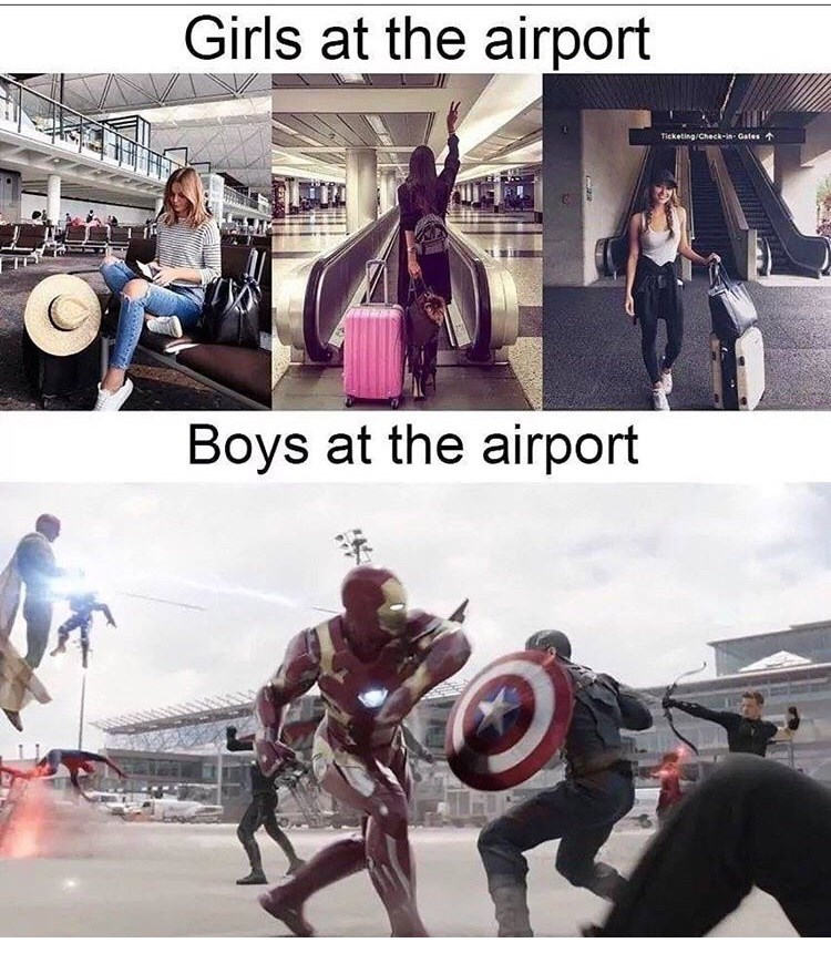 Fictional character - Girls at the airport Ticketing Check-in Gates Boys at the airport