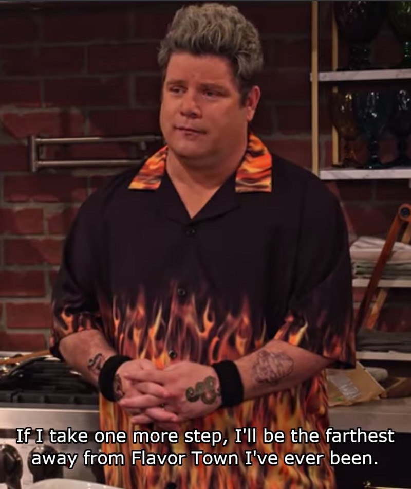 Photo caption - If I take one more step, I'll be the farthest away from Flavor Town I've ever been.