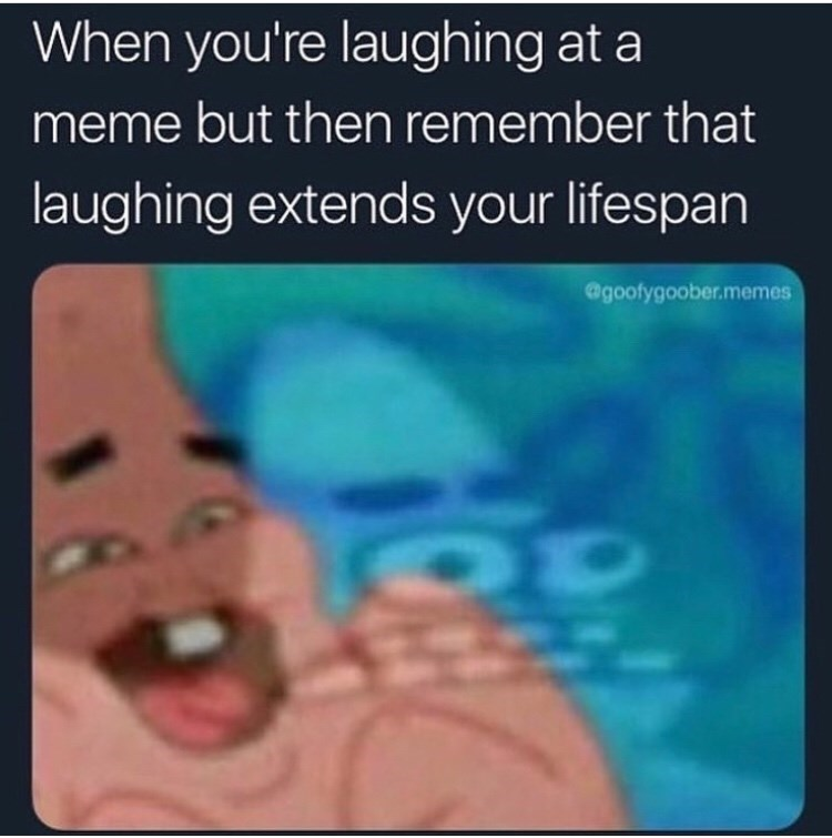 Text - When you're laughing at a meme but then remember that laughing extends your lifespan @goofygoober.memes