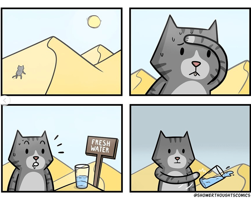 cartoon illustrated comic grey cat climbing a sandy dune in a desert as the sun shines on it and makes it sweat, then it comes across a glass of fresh water but pushes it away