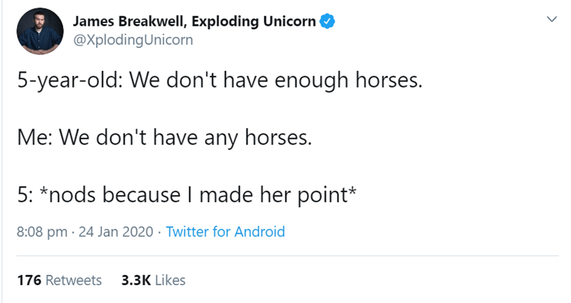 Text - James Breakwell, Exploding Unicorn @XplodingUnicorn 5-year-old: We don't have enough horses. Me: We don't have any horses. 5: *nods because I made her point* 8:08 pm · 24 Jan 2020 · Twitter for Android 176 Retweets 3.3K Likes