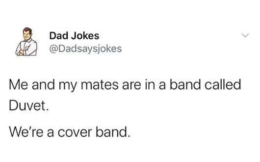 Text - Dad Jokes @Dadsaysjokes Me and my mates are in a band called Duvet. We're a cover band.