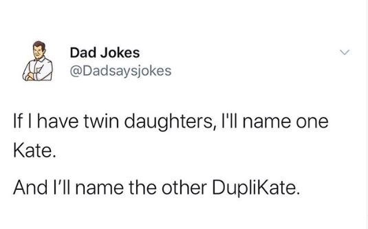 Text - Text - Dad Jokes @Dadsaysjokes If I have twin daughters, I'll name one Kate. And l'll name the other DupliKate.