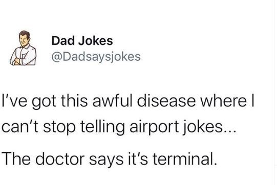 Text - Dad Jokes @Dadsaysjokes I've got this awful disease where I can't stop telling airport jokes... The doctor says it's terminal.