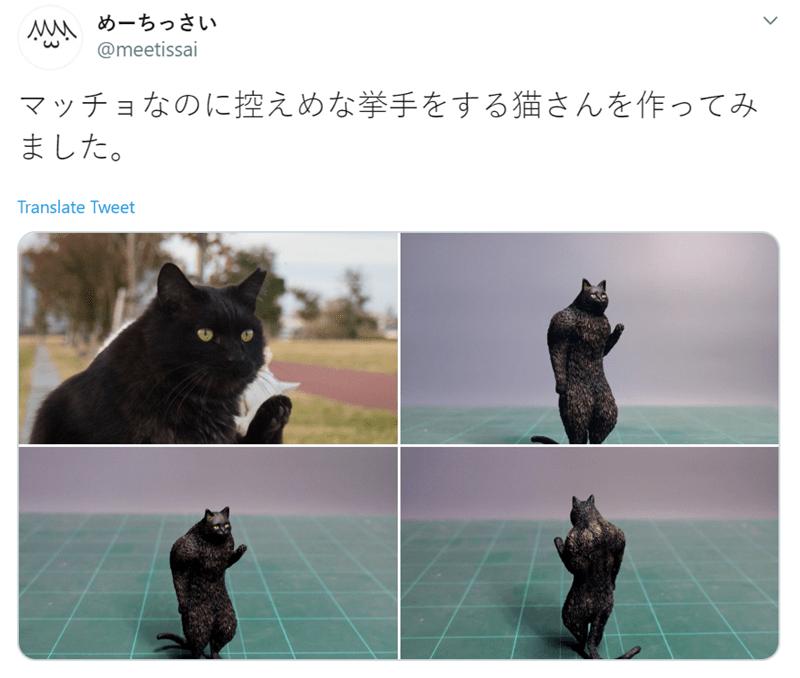 Black cat - めーちっさい @meetissai マッチョなのに控えめな挙手をする猫さんを ました。 作ってみ Translate Tweet