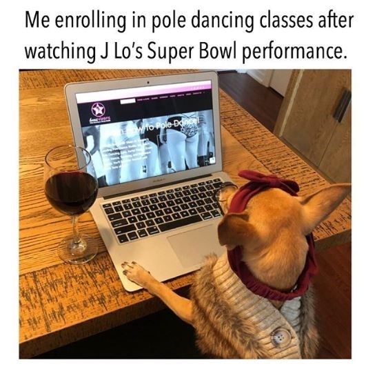 Product - Me enrolling in pole dancing classes after watching J Lo's Super Bowl performance. Ewto Pole Don
