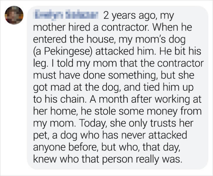 Text - inSr 2 years ago, my mother hired a contractor. When he entered the house, my mom's dog (a Pekingese) attacked him. He bit his leg. I told my mom that the contractor must have done something, but she got mad at the dog, and tied him up to his chain. A month after working at her home, he stole some money from my mom. Today, she only trusts her pet, a dog who has never attacked anyone before, but who, that day, knew who that person really was.